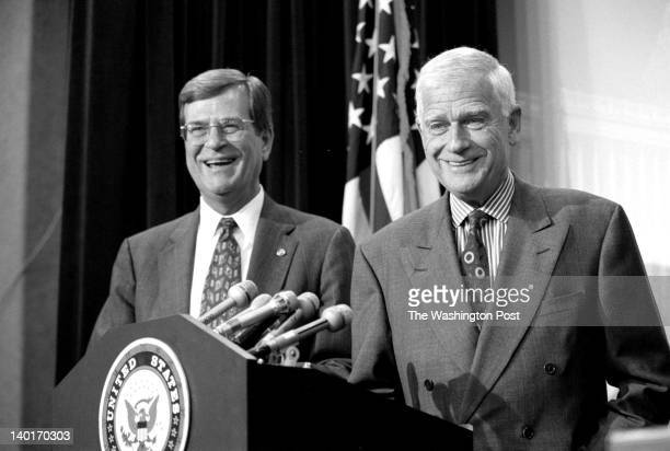 House Majority Leader Trent Lott and Senate Appropriations Committee Chairman Mark O Hatfield hold a press conference to brief reporters on the...
