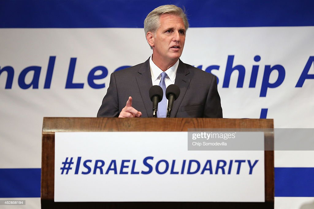 House Majority Leader-elect Rep. Kevin McCarthy (R-CA) addresses Jewish organizational and community leaders during the 'National Leadership Assembly for Israel' at the National Press Club July 28, 2014 in Washington, DC. Organized by the Conference of Presidents of Major American Jewish Organizations, the event was addressed by Obama Administration officials and both Republican and Democratic members of Congress who attended the rally as a 'show of solidarity with the people and state of Israel.' Despite international calls for a ceasefire, Israel and Hamas continue to battle in and around the Gaza Strip, where 1,000 people have been killed since the violence started 21 days ago.