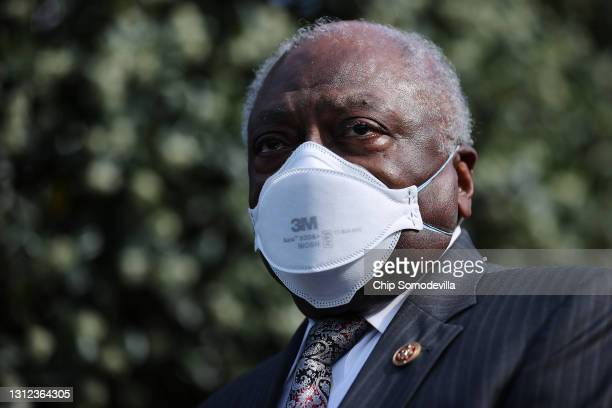 House Majority Whip James Clyburn and fellow members of the Congressional Black Caucus talk to reporters following a meeting with U.S. President Joe...