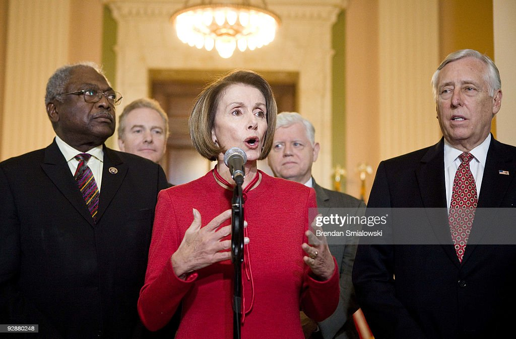 House Majority Whip James Clyburn (D-SC) (L), Rep. Chris Van Hollen (D-MD) (2L), Rep. John Larson (D-CT) (2R) and House Majority Leader Steny Hoyer (D-MD) listen as Speaker of the House Nancy Pelosi (D-CA) makes a statement after a caucus meeting with President Barack Obama on Capitol Hill November 7, 2009 in Washington, DC. US President Barack Obama spoke with members of the House Democratic Caucus about healthcare reform legislation which is expected to be voted on today.