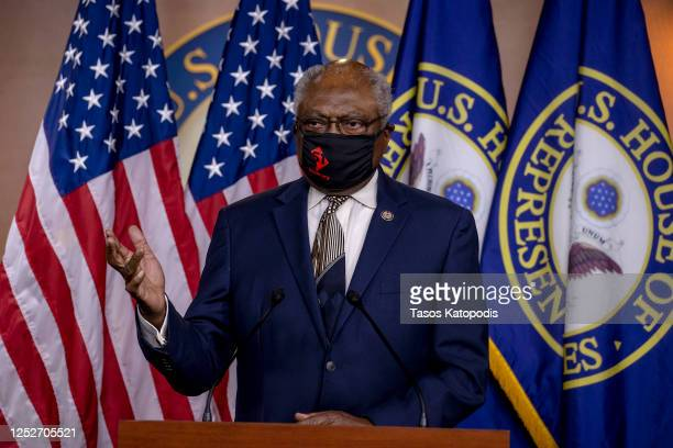 House Majority Whip James Clyburn speaks at a press conference on Capitol Hill as House Democrats mark the anniversary of Shelby County v. Holder on...