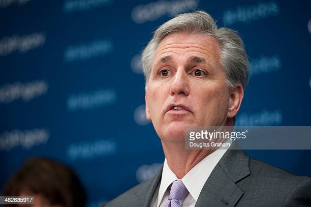 House Majority Whip Kevin McCarthy DCalif during a news conference after the House Republican Caucus in the US Capitol on January 14 2014