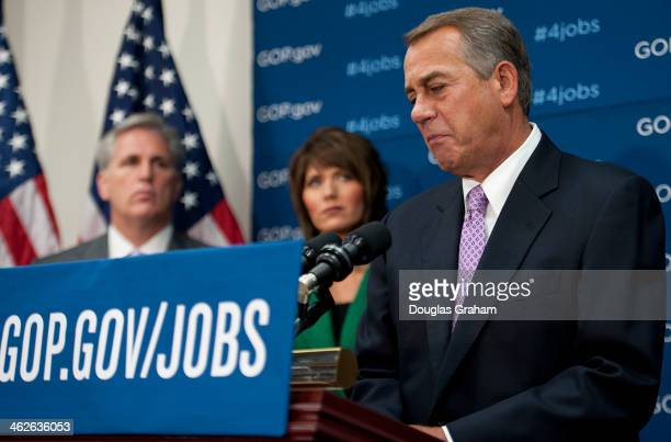 House Majority Whip Kevin McCarthy DCalif Rep Kristi Noem RSD and Speaker of the House John Boehner ROH during a news conference after the House...