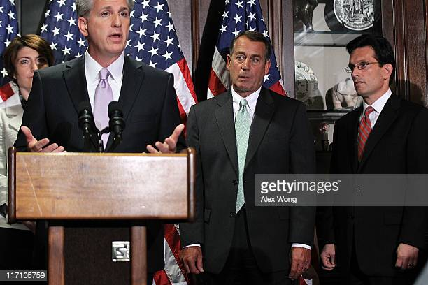 S House Majority Whip Rep Kevin McCarthy speaks as Republican Conference Vice Chairman Rep Cathy McMorris Rodgers Speaker of the House Rep John...