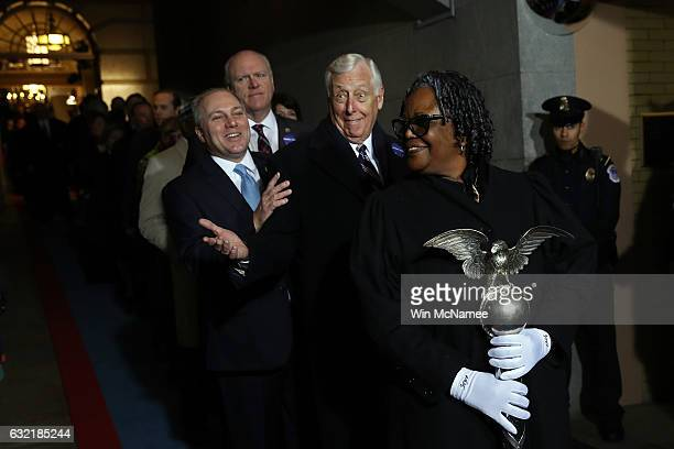 House Majority Whip Rep Steve Scalise and House Minority Whip Rep Steny Hoyer arrive on the West Front of the US Capitol on January 20 2017 in...