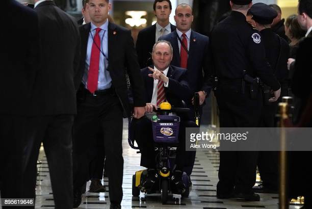 S House Majority Whip Rep Steve Scalise heads towards the House chamber to vote on the tax overhaul bill December 19 2017 at the Capitol in...