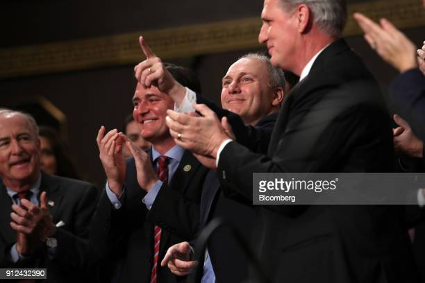 House Majority Whip Steve Scalise a Republican from Louisiana center gestures after being acknowledged by US President Donald Trump not pictured...