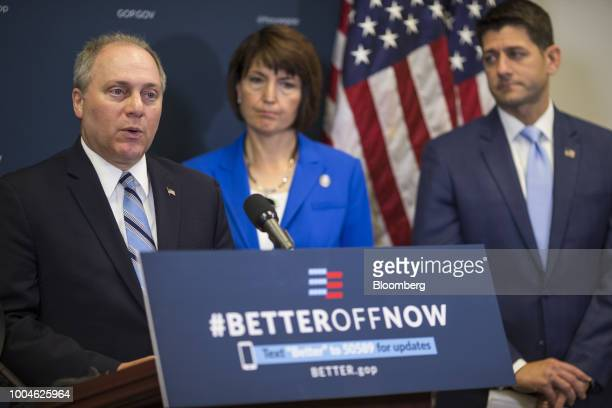 House Majority Whip Steve Scalise a Republican from Louisiana left speaks during a news conference on Capitol Hill in Washington DC US on Tuesday...