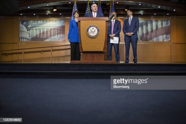 House Majority Whip Steve Scalise a Republican from Louisiana speaks as Representative Cathy McMorris Rodgers a Republican from Washington left US...