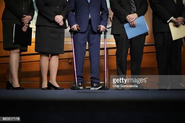 House Majority Whip Steve Scalise a victim of gun violence himself and walks with the aid of crutches joins a news conference after the House passed...