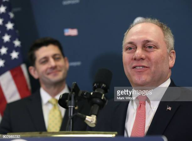 House Majority Whip Steve Scalise and House Speaker Paul Ryan speak to the media about the GOP agenda after a meeting with House Republicans on...