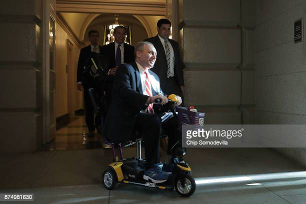 House Majority Whip Steve Scalise arrives for a House Republican conference meeting at the US Capitol November 16 2017 in Washington DC US President...