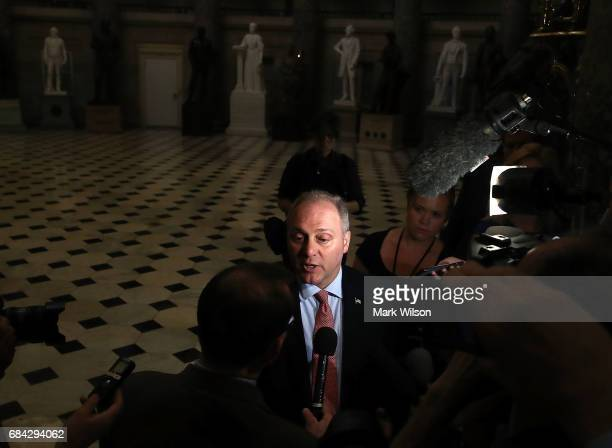 House Majority Whip Steve Scalise speaks to the media on May 17 2017 in Washington DC Today the Justice Department announced that former FBI director...