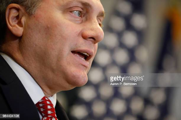 House Majority Whip Steve Scalise speaks with reporters during a news conference following a House Republican conference meeting June 26 2018 on...