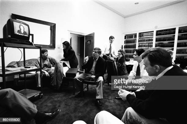House Managers James Rogan and Lindsey Graham watch Monica Lewinsky on TV with Paul McNulty Director of Legislative Operations for the House Majority...