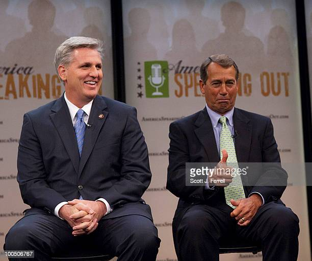 House Minority Chief Deputy Whip Kevin McCarthy RCalif and House Minority Leader John A Boehner ROhio giving a thumbs up as he hears that he has more...