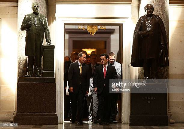 House Minority Leader John Boehner and Republican Whip Rep Eric Cantor walk from a GOP meeting to the House Chamber on Capitol Hill on March 21 2010...
