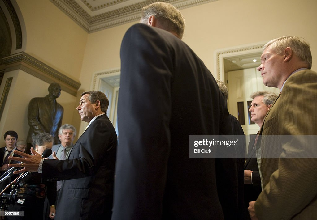 House Minority Leader John Boehner, R-Ohio, holds a news conference with fellow House Republicans on the economic stimulus package in the U.S. Capitol on Wednesday, Jan. 28, 2009.