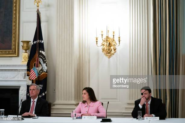 House Minority Leader Kevin McCarthy, a Republican from California, from left, Representative Elise Stefanik, a Republican from New York, and...