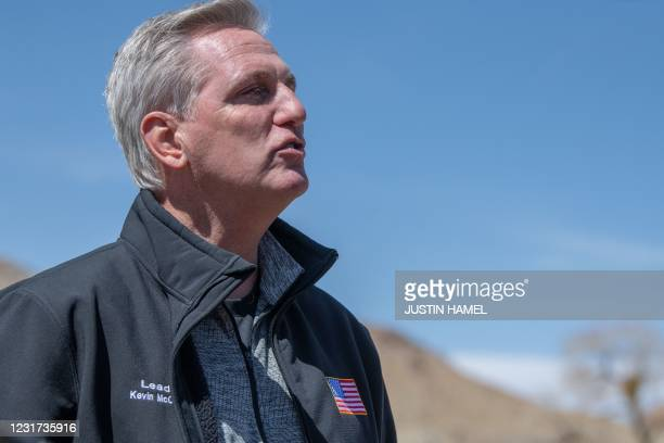 House Minority Leader Kevin McCarthy addresses the press during the congressional border delegation visit to El Paso, Texas on March 15, 2021. -...