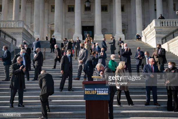House Minority Leader Kevin McCarthy and fellow House Republicans depart a news conference outside the U.S. Capitol December 10, 2020 in Washington,...
