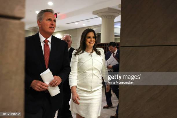 House Minority Leader Kevin McCarthy and Rep. Elise Stefanik depart a caucus meeting to speak to reporters in the U.S. Capitol Visitors Center on May...