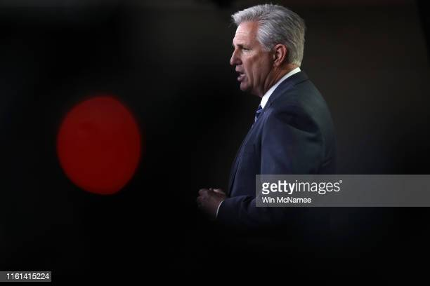 House Minority Leader Kevin McCarthy answers questions during a press conference at the US Capitol on July 11 2019 in Washington DC McCarthy answered...