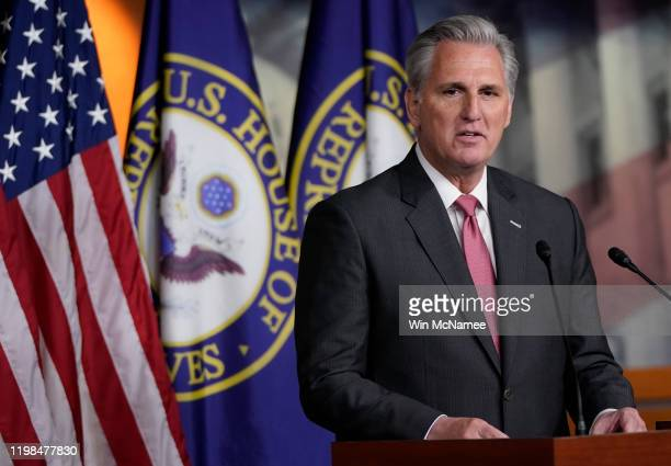 House Minority Leader Kevin McCarthy answers questions during a press conference at the US Capitol on January 09 2020 in Washington DC McCarthy...