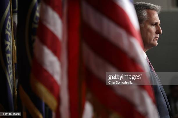 House Minority Leader Kevin McCarthy attends a news conference following a GOP caucus meeting at the US Capitol Visitors Center February 13 2019 in...