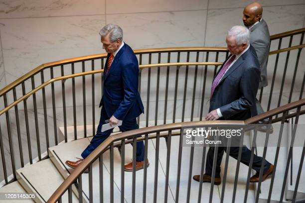 House Minority Leader Kevin McCarthy heads to a closeddoor briefing from Vice President Mike Pence and Anthony Fauci Director of the National...
