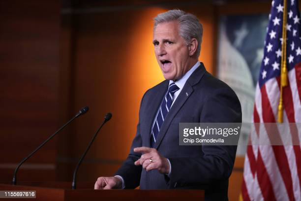 House Minority Leader Kevin McCarthy holds his weekly news conference at the US Capitol June 13 2019 in Washington DC In the wake of remarks by...