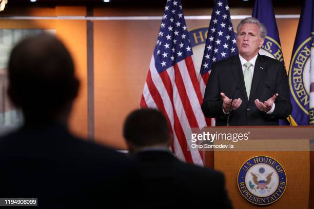 House Minority Leader Kevin McCarthy holds his weekly news conference at the US Capitol December 19 2019 in Washington DC McCarthy said that he...