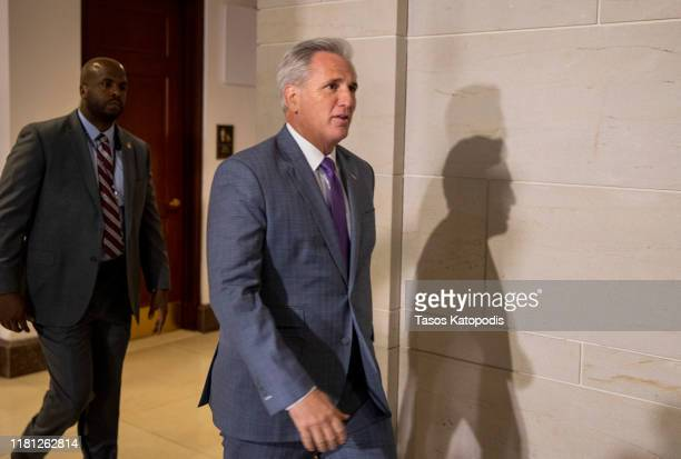 House Minority Leader Kevin McCarthy leaves after a closed session before the House Intelligence Foreign Affairs and Oversight committees October 15...
