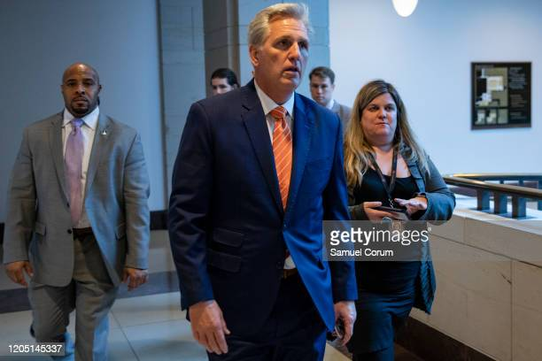 House Minority Leader Kevin McCarthy leaves after a closeddoor briefing from Vice President Mike Pence and Anthony Fauci Director of the National...
