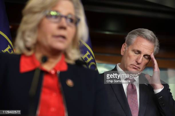 House Minority Leader Kevin McCarthy listens to House Republican Conference Chair Rep Liz Cheney during a news conference following a caucus meeting...