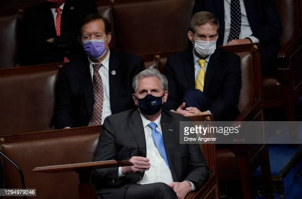 House Minority Leader Kevin McCarthy looks on in the House Chamber during a reconvening of a joint session of Congress on January 06, 2021 in...