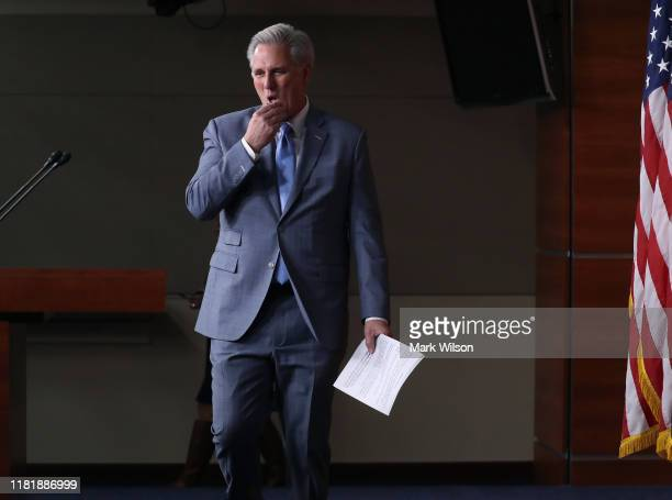 House Minority Leader Kevin McCarthy prepares to speak at his weekly news conference on Capitol Hill October 18 2019 in Washington DC Leader McCarthy...