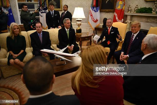 House Minority Leader Kevin McCarthy RCA meets with US President Donald Trump Rep Jeff Van Drew DNJ and other cabinet members in the Oval Office at...