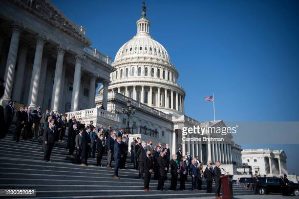 December 10: House Minority Leader Kevin McCarthy, R-Calif., joined by other House Republicans, speaks during a news conference on the House steps in...