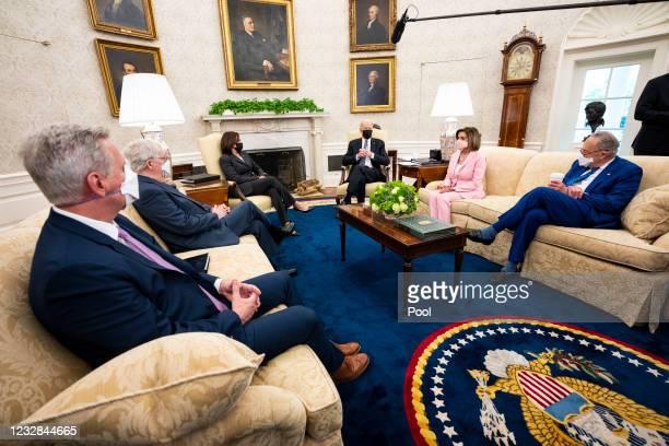 House Minority Leader Kevin McCarthy, Senate Minority Leader Mitch McConnell, Vice President Kamala Harris, President Joe Biden, Speaker of the House...