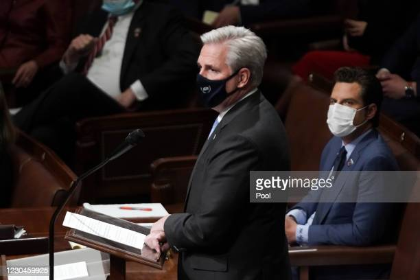 House Minority Leader Kevin McCarthy speaks during a reconvening of a joint session of Congress to certify the Electoral College votes of the 2020...
