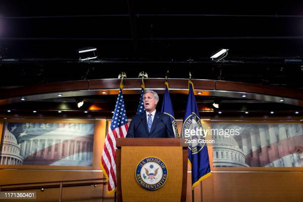 House Minority Leader Kevin McCarthy speaks during a weekly news conference on Capitol Hill on September 26 2019 in Washington DC Leader McCarthy...