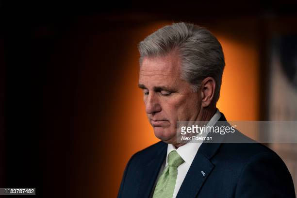 House Minority Leader Kevin McCarthy speaks during his weekly press conference at the US Capitol on November 21 2019 in Washington DC McCarthy said...