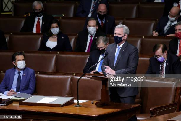 House Minority Leader Kevin McCarthy speaks in the House Chamber during a reconvening of a joint session of Congress on January 06, 2021 in...