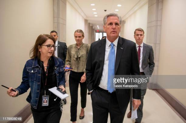 House Minority Leader Kevin McCarthy speaks to reporters after a press conference on September 18, 2019 in Washington, DC. McCarthy spoke about...