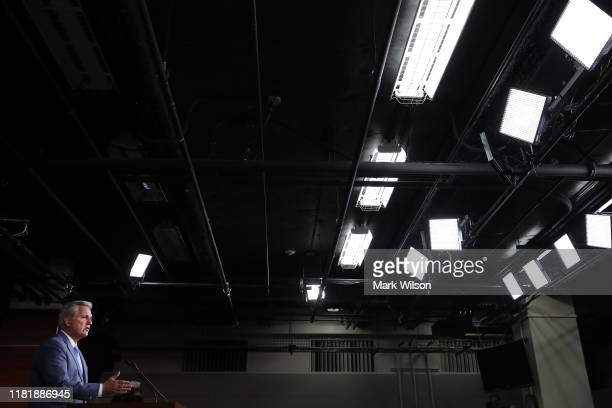 House Minority Leader Kevin McCarthy speaks to the media during his weekly news conference on Capitol Hill October 18 2019 in Washington DC Leader...