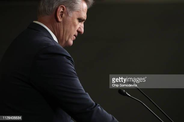 House Minority Leader Kevin McCarthy talks to reporters during a news conference following a GOP caucus meeting at the US Capitol Visitors Center...