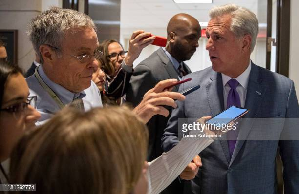 House Minority Leader Kevin McCarthy talks to the media after a closed session before the House Intelligence Foreign Affairs and Oversight committees...