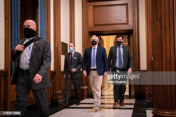 House Minority Leader Kevin McCarthy walks to his office after a vote on the House floor at the U.S. Capitol on February 4, 2021 in Washington, DC....