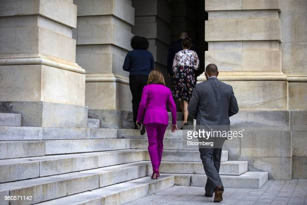 House Minority Leader Nancy Pelosi a Democrat from California departs after speaking during a news conference on the longterm effects of separating...